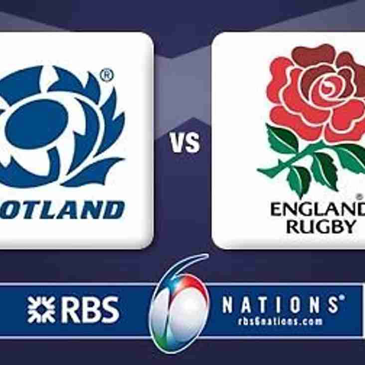 THIS SATURDAY (FEB. 24TH.) SEES ROUND 3 OF ENGLAND'S DEFENCE OF THEIR 6 NATIONS CROWN. THEY VISIT 'THE AULD ENEMY' AS THE PAIR OF THEM BATTLE IT OUT FOR HONOURS IN THE CALCUTTA CUP. COME AND WATCH THE GAME ON THE SCREENS AT YOUR CLUB