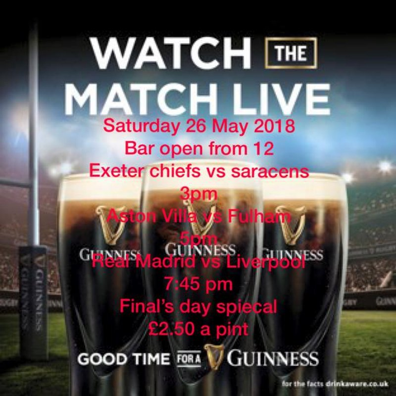 Bar opening times this weekend 26 & 27 May 2018