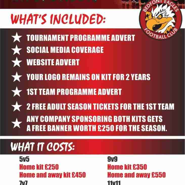 SPONSORSHIP OPPORTUNITIES AT BEDFONT EAGLES
