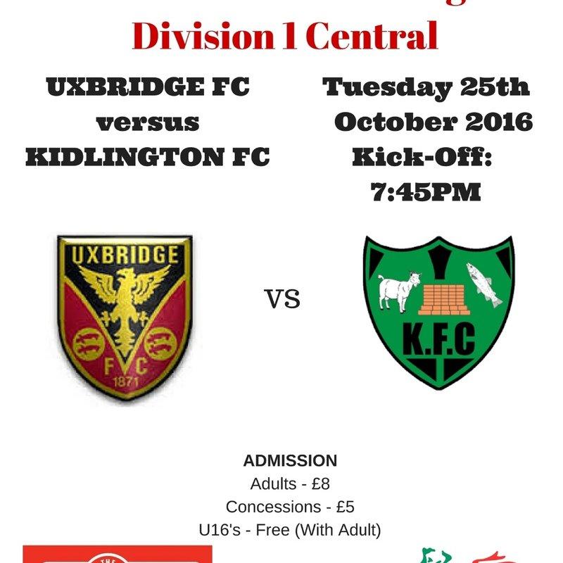 UXBRIDGE DRAW 0-0 AGAINST KIDLINGTON