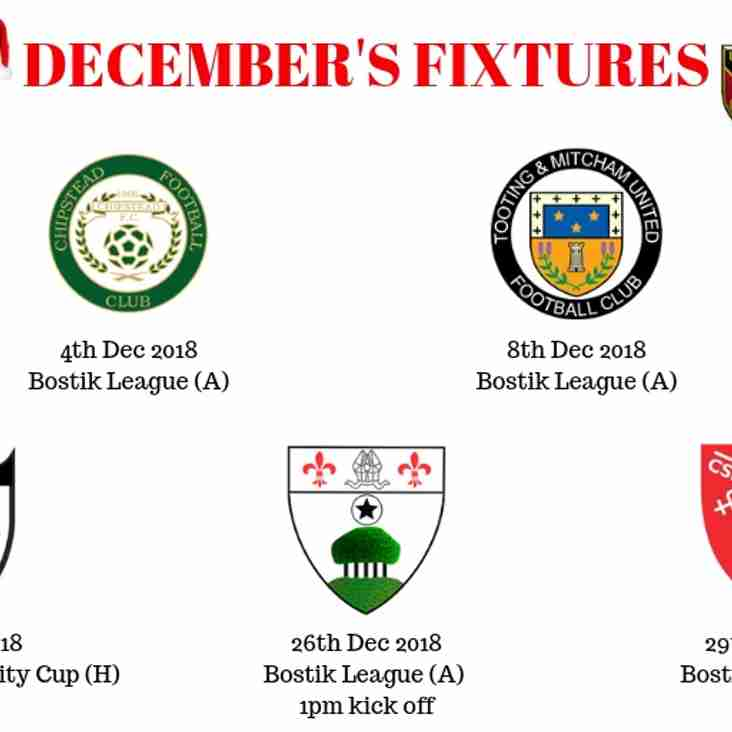 DECEMBERS FIXTURES AT A GLANCE