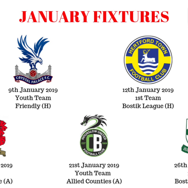 FIXTURES FOR JANUARY 2019