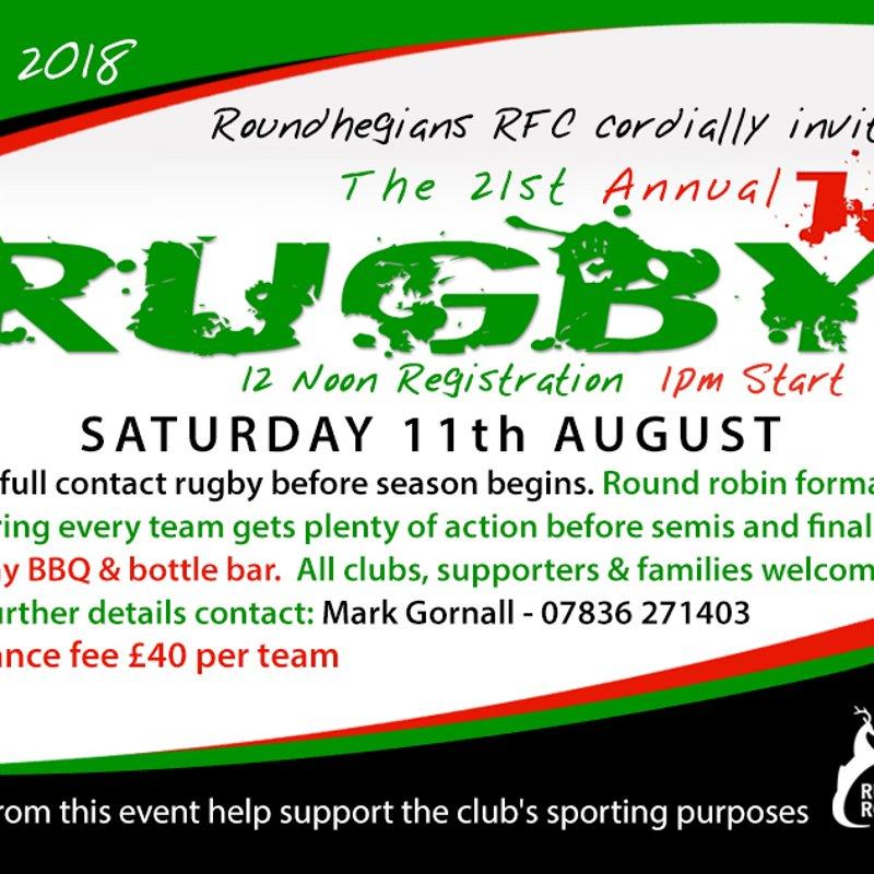 Roundhegians 10's tournament Saturday 11th August