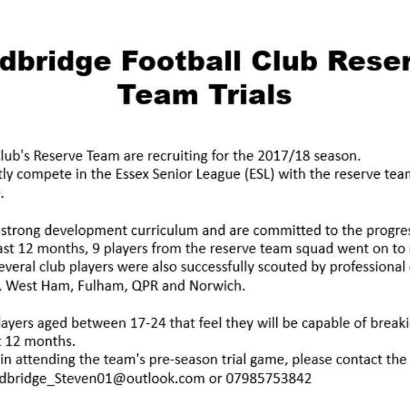 Redbridge F.C.- Reserve Trials