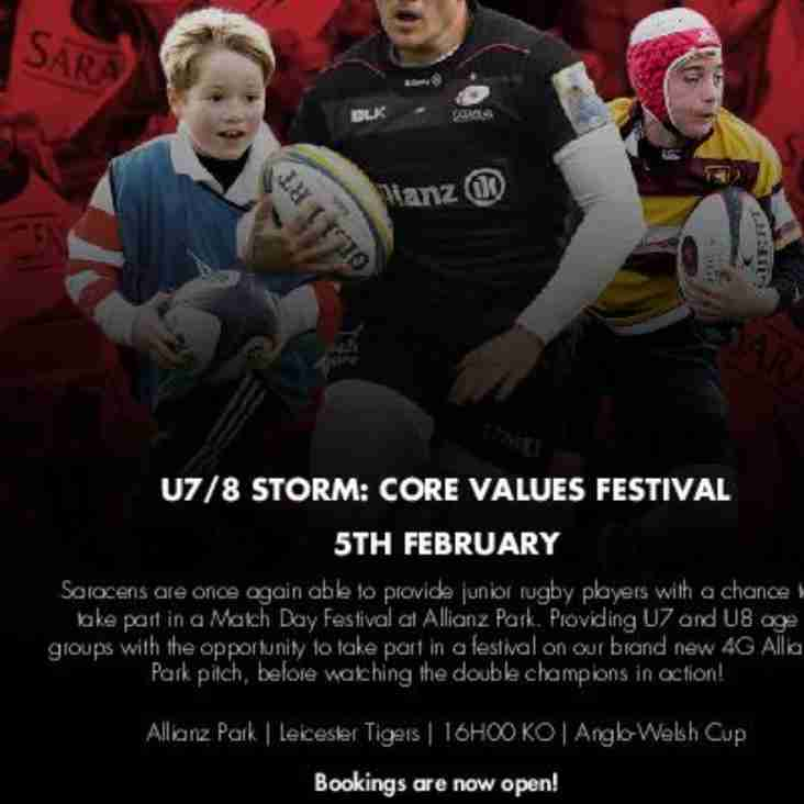Beccs U7s Playing in Saracens Core Values Festival Sunday 5 Feb