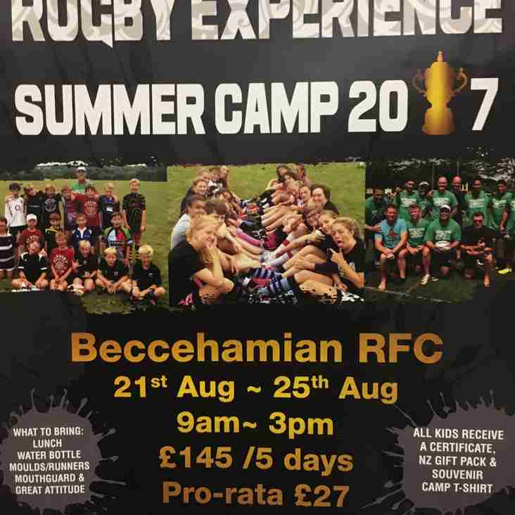 Beccs host New Zealand Experience Rugby Summer Camp - Aged 6-15 - August 2017