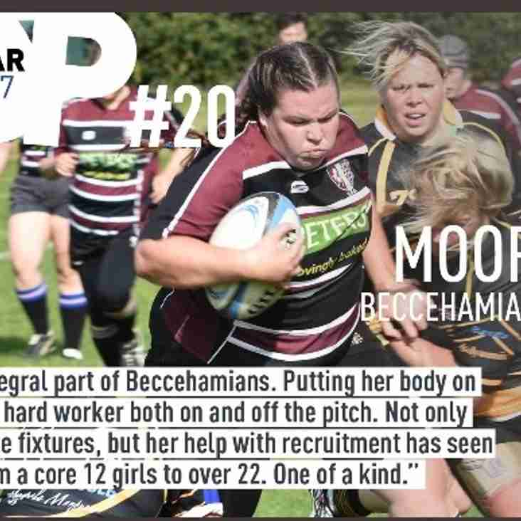 Beccs Ladies Sarah Moorhouse contender for Rhino Rugby's #PropStar