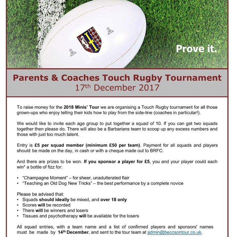 Parents & Coaches Touch Rugby Tournament - Sunday 17 December 2017
