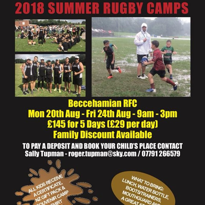 "Beccs host ""NZ Rugby Experience"" Summer Camp August 2018"