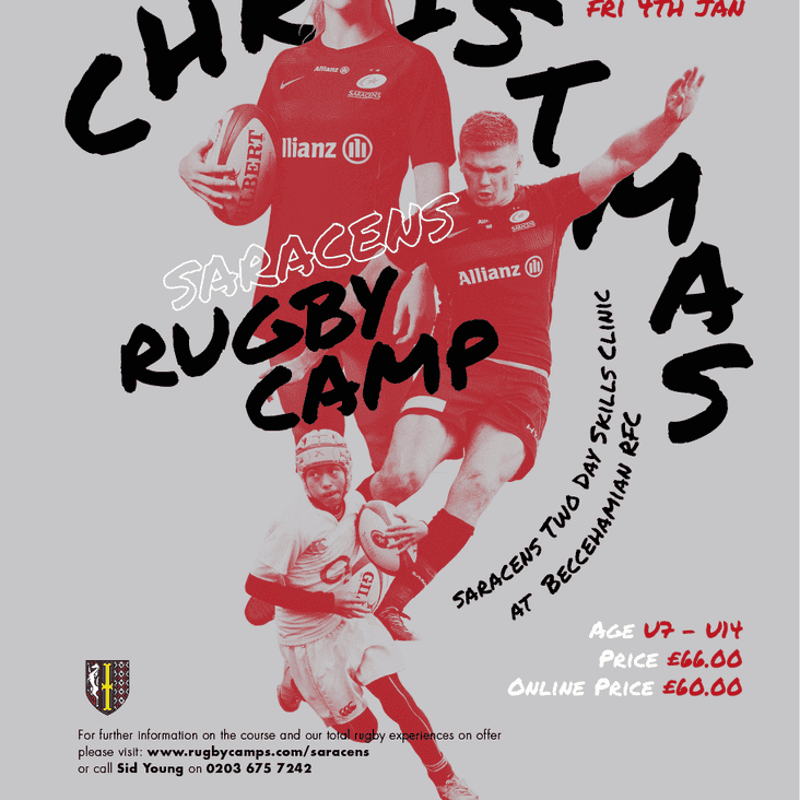 Saracens Rugby Camp 3-4 January 2019 at Beccehamian RFC.