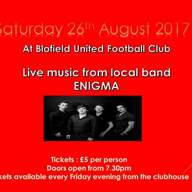 Live Music this Saturday at Blofield FC