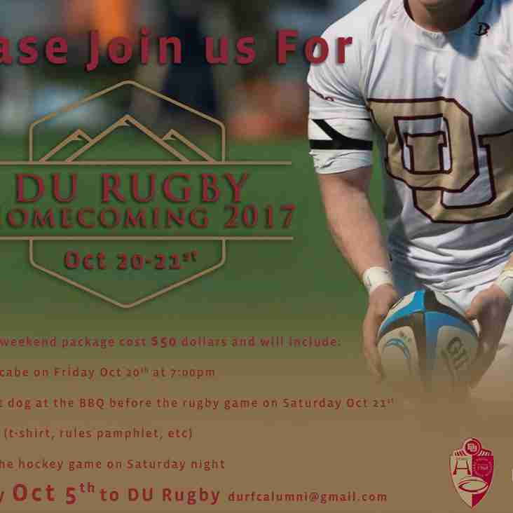 DU Rugby Advisory:  Homecoming Weekend Close to Sold Out