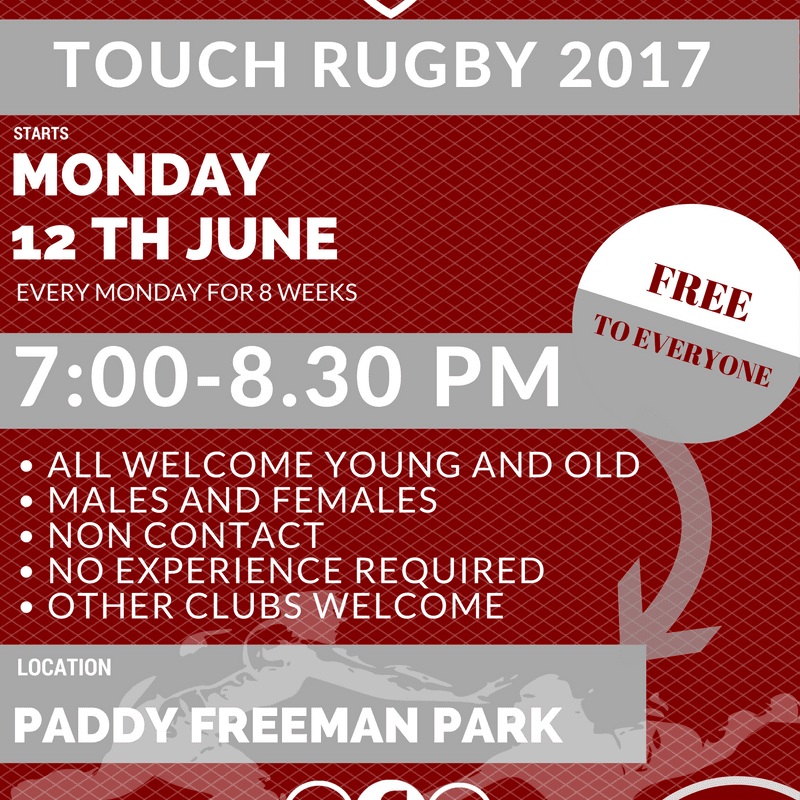 Touch Rugby Starts Monday 12th June