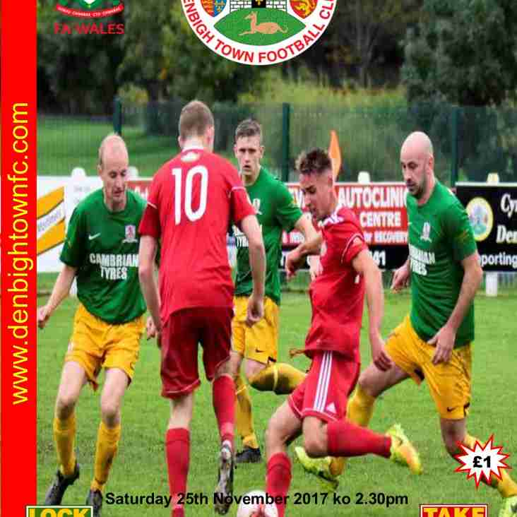 Match Preview Denbigh Town v Caersws  Sat  25 Nov  2.30pm