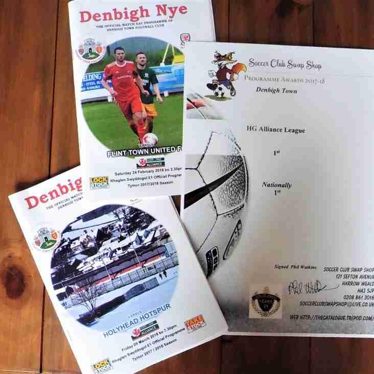 Denbigh Town's programme awarded the best  by Soccer Club Swap Shop