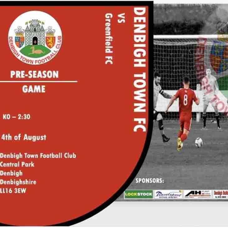 Match Preview Denbigh Town v Greenfield [ Pre season friendly]