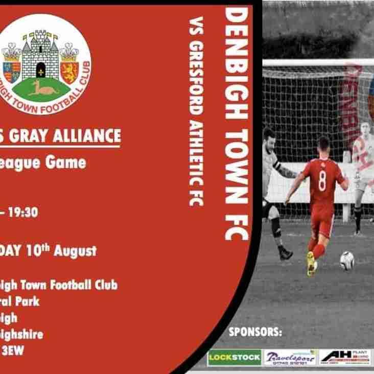 Match Preview Denbigh Town v Gresford Friday 10 Aug 2018 7.30pm