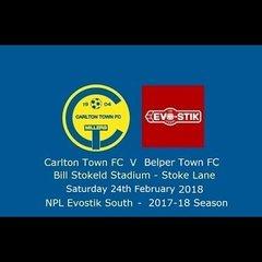 Carlton Town v Belper Town 24/02/2018 - Match Highlights