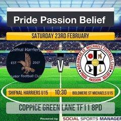 Boldmere St Michaels Under 15's MJPL V's Shifnal Harrirers Away