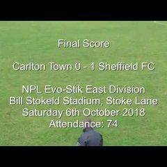Carlton Town v Sheffield FC - Match Highlights 06/10/2018