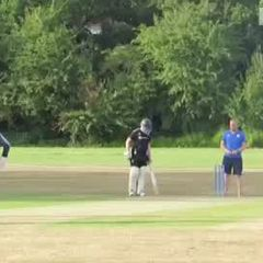 Dru takes a caught and bowled