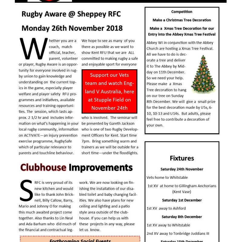 Rugby Aware -26th November @SRFC