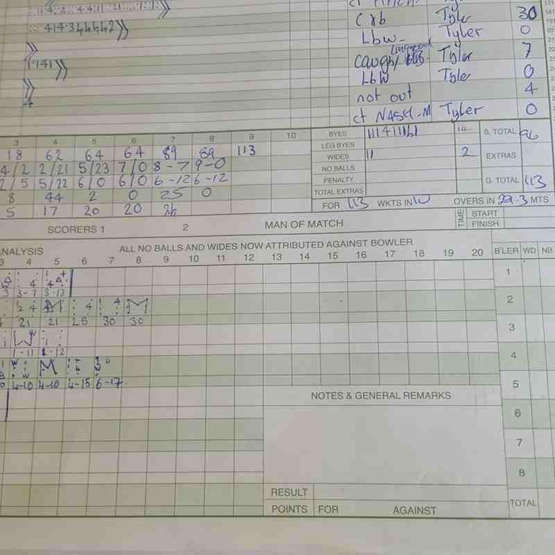 Scorebook photos of 8/7/17 Datchworth III vs Ware II