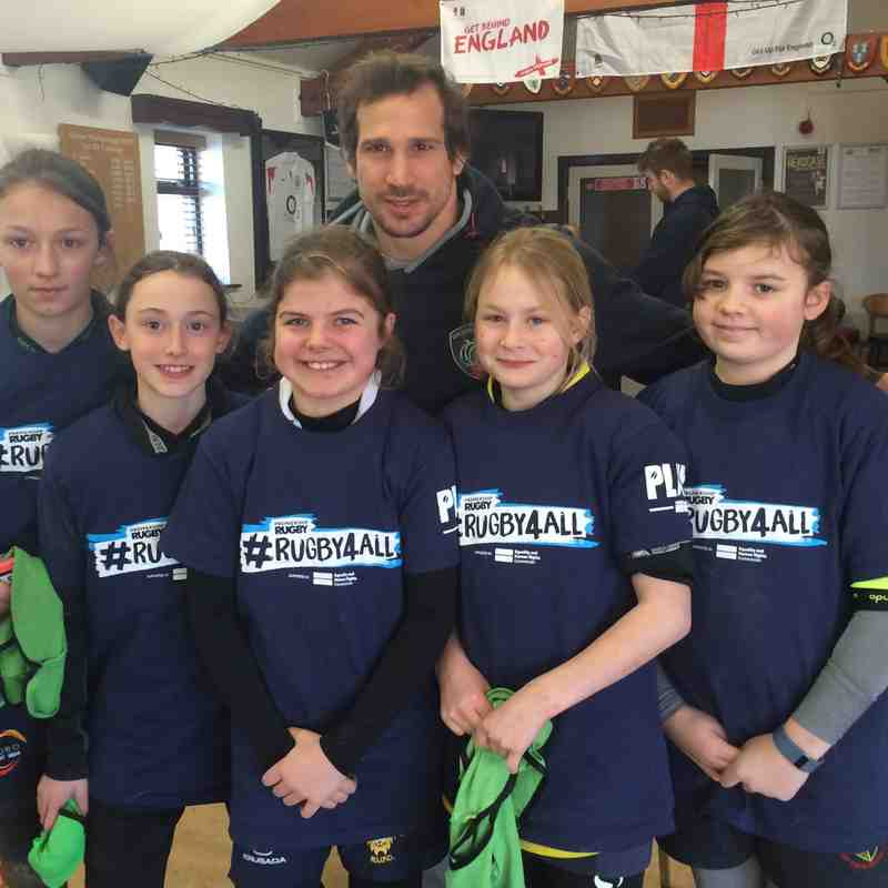 Some of the PRUFC under-13 Girls with Gonzalo Camacho of Argentina and Leicester