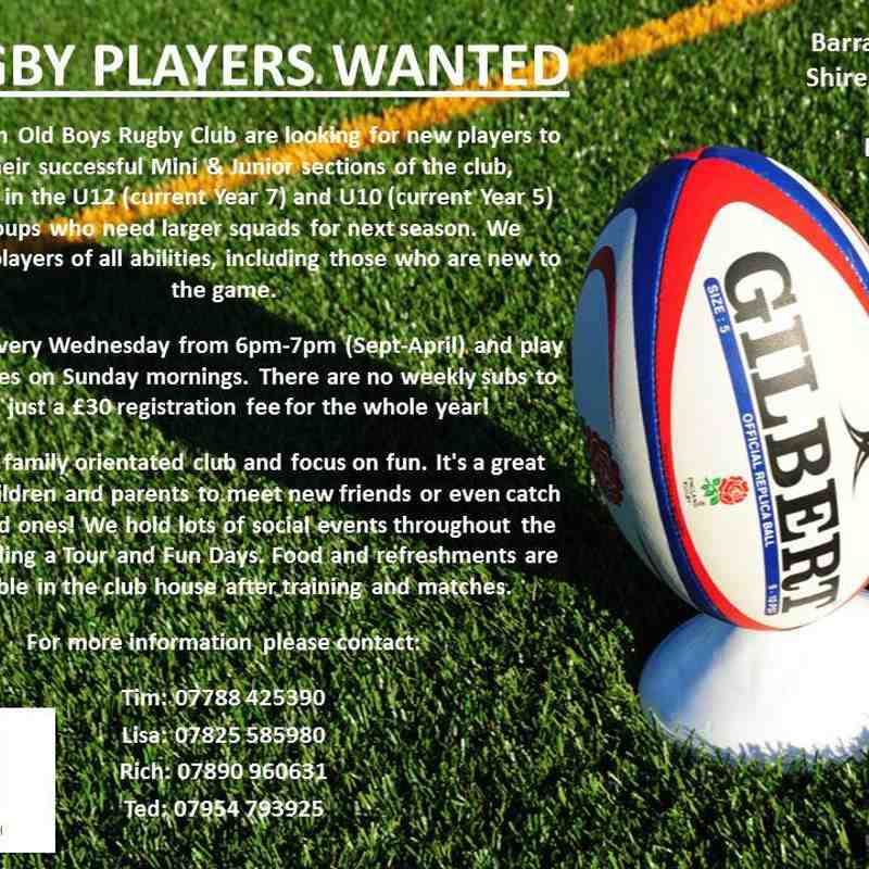Mini & Junior Rugby Players Wanted