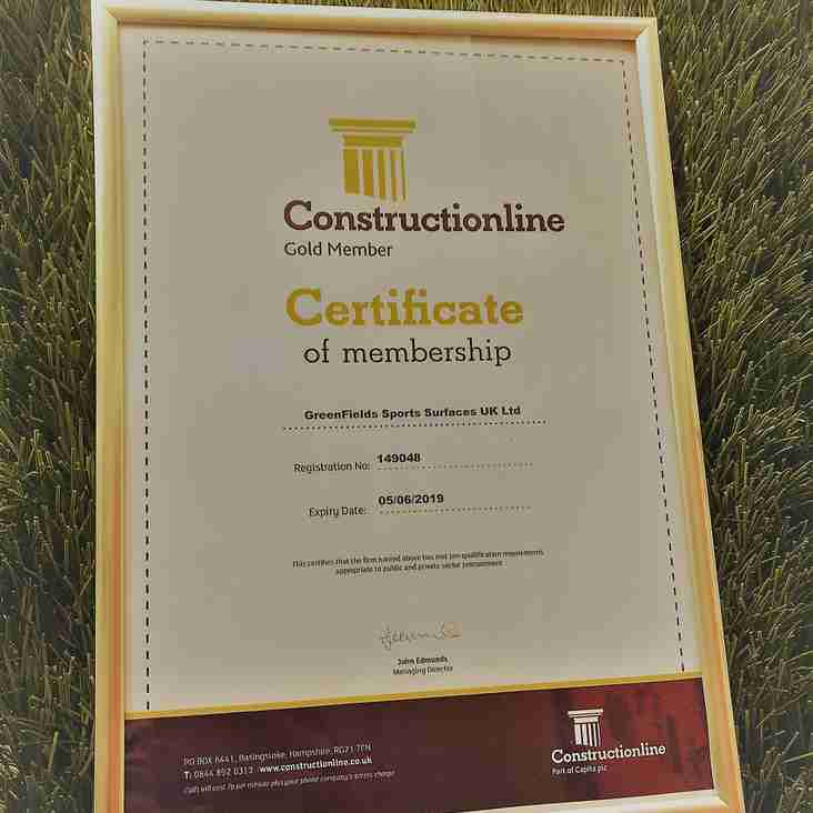 League Official Pitch Partner Achieve Constructionline Gold Certificate Award