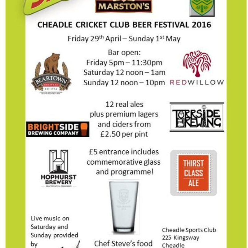 Beer Festival 29th April to 1st May
