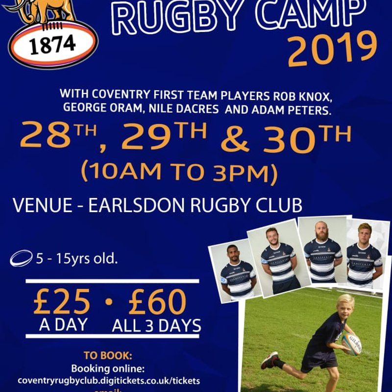 Coventry RFC May holiday Rugby Camp @ Earlsdon RFC with member discount
