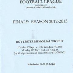 Roy Lester 2012/13 Datchet Village 20/05/13