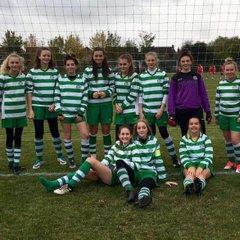 Priory Celtic U15 Girls in action against Bingham Town