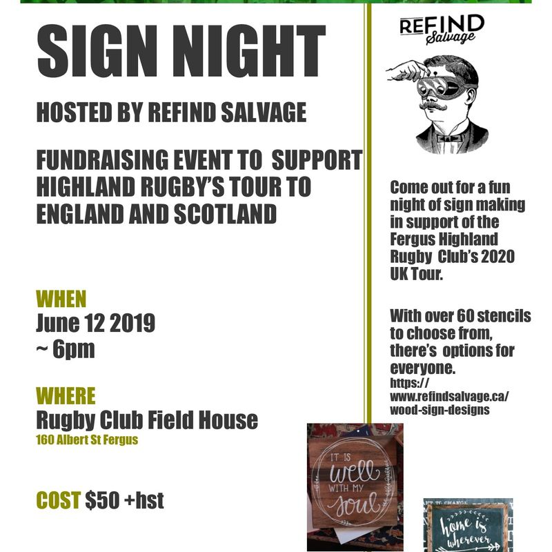 Rustic sign night fundraiser for 2020 UK Tour.