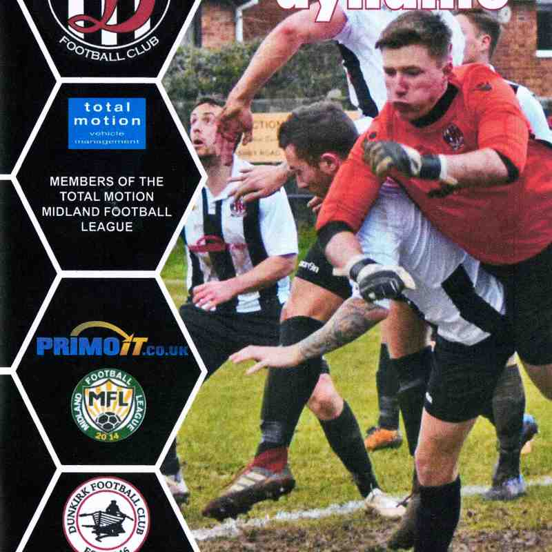 Programme Cover Dunkirk F.C. and Chairman's Notes Plus Team Sheet 23.2.2019