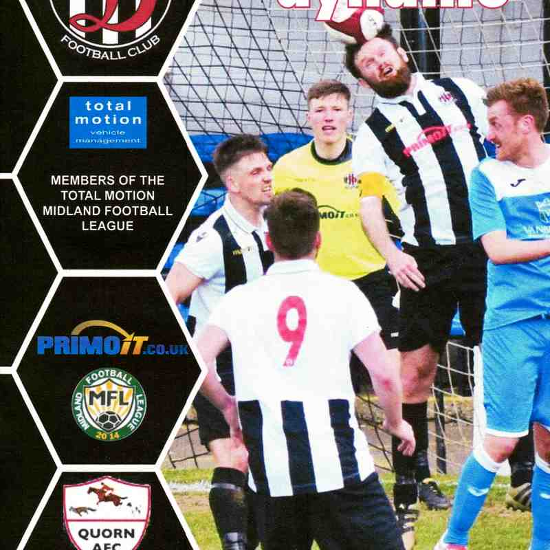 Programme Cover Quorn A.F.C. and Chairman's Notes Plus Team Sheet 22.4.2019