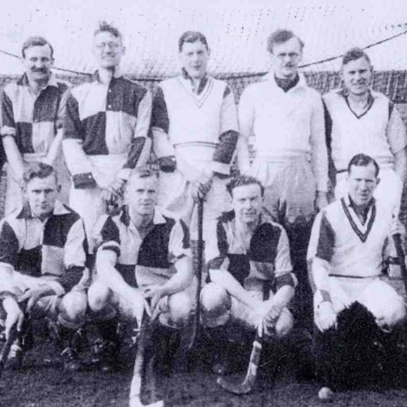 Late 1930's Thirsk Hockey Club. Note Racecourse Stables behind.