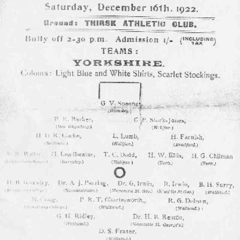 A match program from 1922 of a county match played at the Thirsk ground.