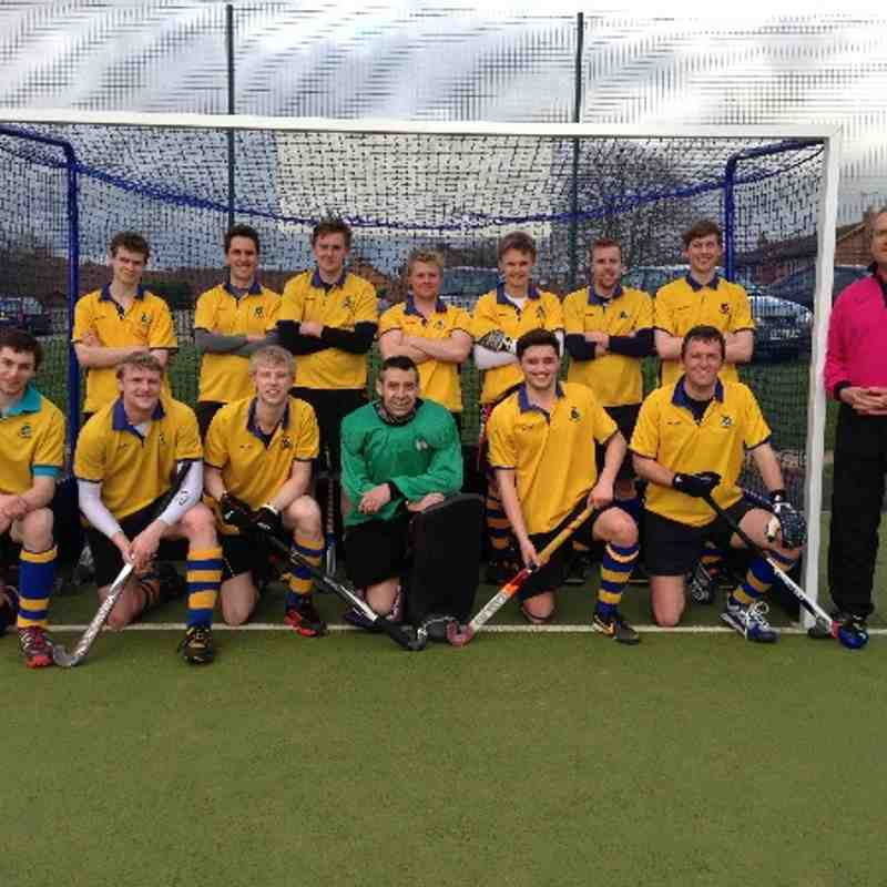 1sts.2013/14. Back from left: Dan Lawson, Phil Hughes (vice capt.), Sam Gardiner, Alex Shepherd, Ben Scaling, Nick Fox, Tom Ward. Front: Capt James Laking, Paul Doyle, Jonathan Sharman, Mason(GK), Rob Ramsden, Phil Ratcliff. Umpire Richard Taylor.