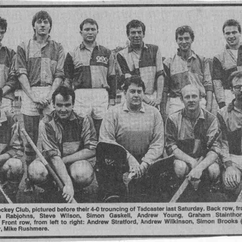 First Team circa 1986.  Back row: Simon Rabjohns, Steve Wilson, Simon Gaskell, Andrew Young, Graham Stainforth, Miles Keenleyside. Front: Andrew Stratford, Andrew Wilkinson, Simon Brooks (captain & GK), Steve Hooper, Mike Rushmere.