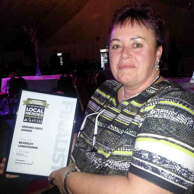 Bev with her finalist certificate in the Local Heroes Unsung Hero Award.