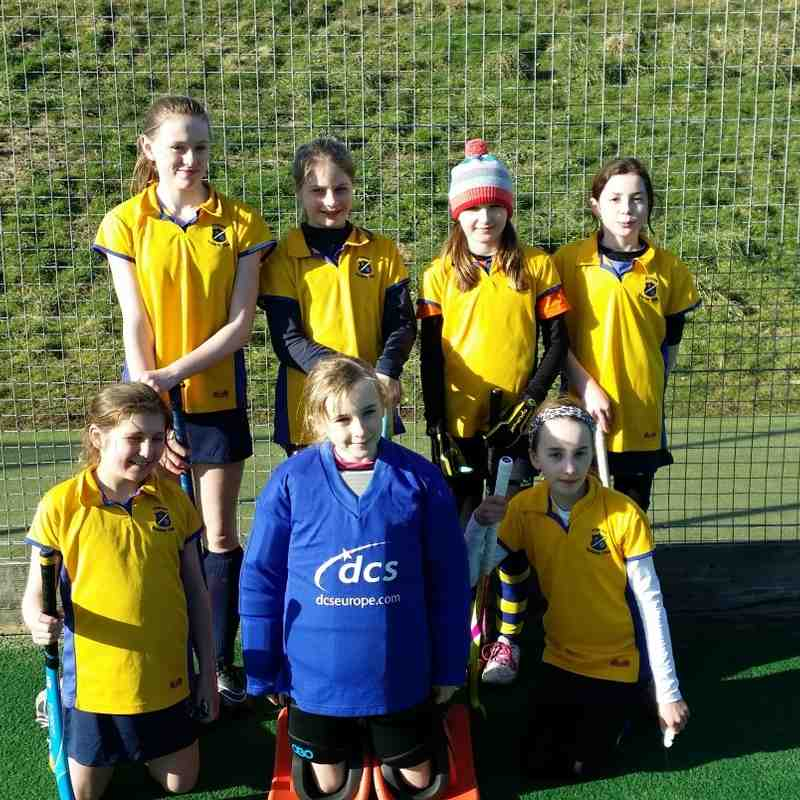 U12 girls D team: Back Row: Harriet Strachen, Millie Poppitt, Charlotte Munns & Alice Simmerson