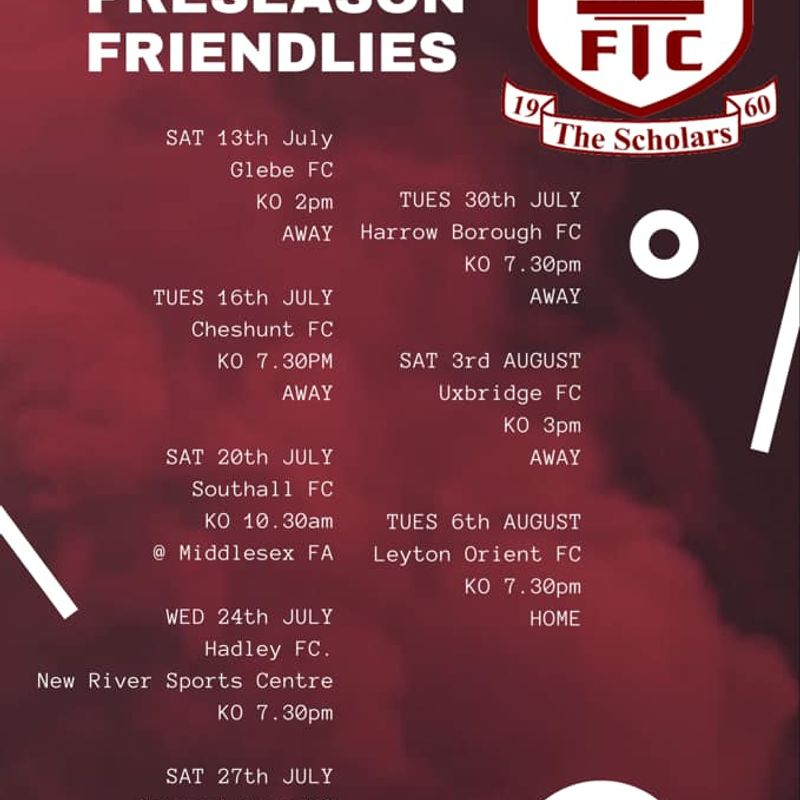 Pre-season Friendlies update