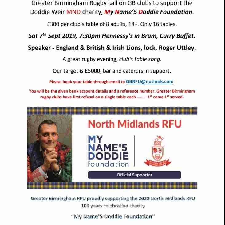 Come and join us at Doddie Weir's MND Charity Night on Saturday 7th September