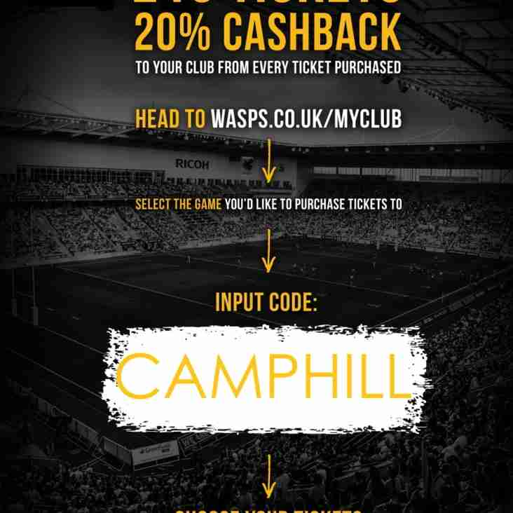New Link for Tickets to WASPS, with added CASHBACK !!!