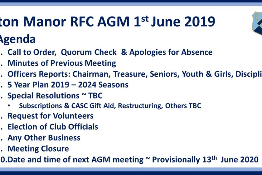 Annual General Meeting 2019 ~ PLEASE REMEMBER TO APPLY IF YOU WANT TO JOIN THE COMMITTEE