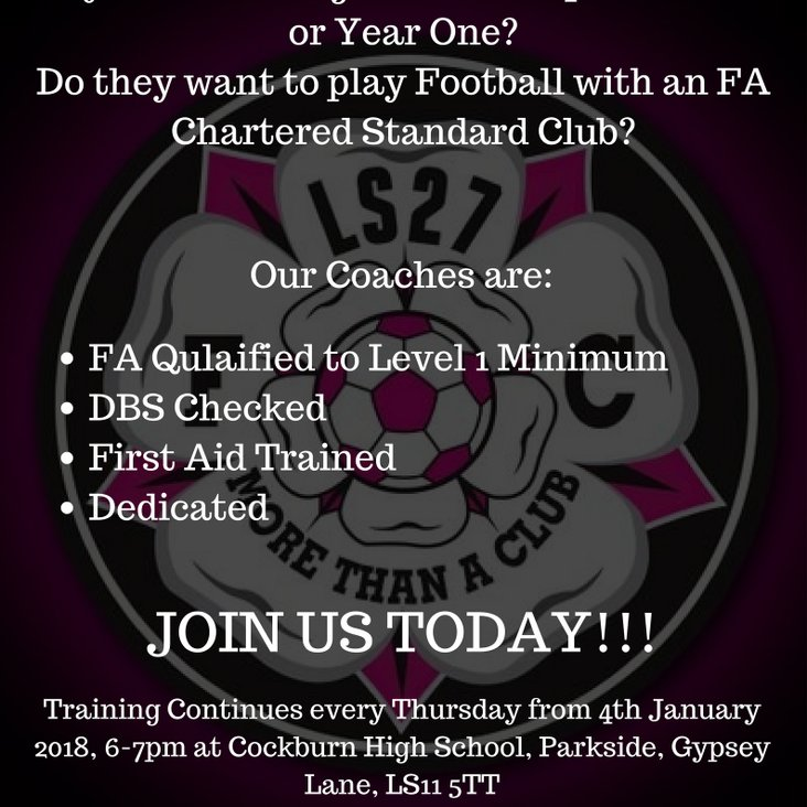 LS27 FC Reception/Year 1 Training sessions!!!<