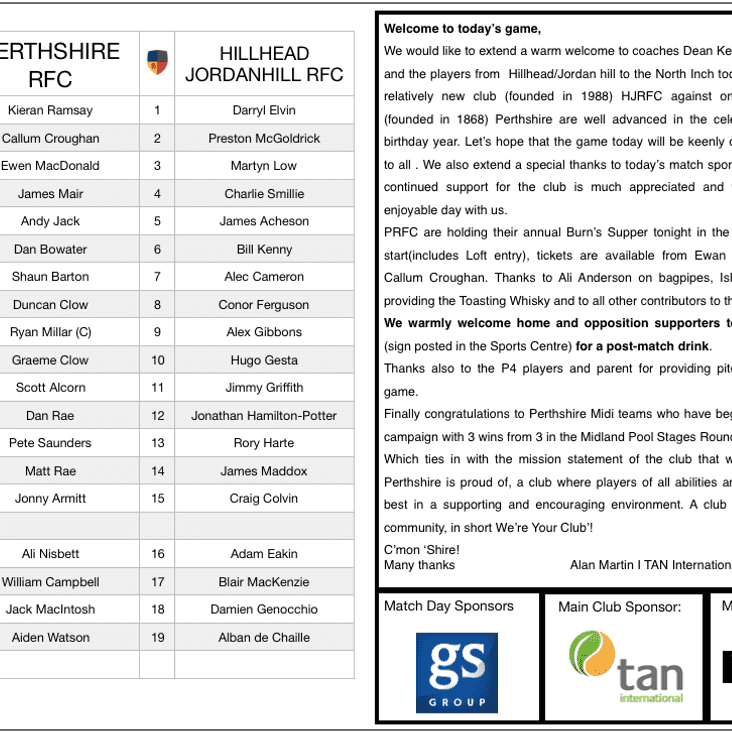 Match Day Programme vs Hillhead Jordanhill RFC
