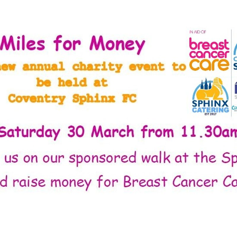 Join us for Miles for Money on Saturday 30th March